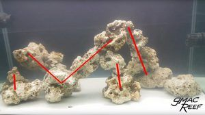 Reef Aquascape Showing Rods in Rocks
